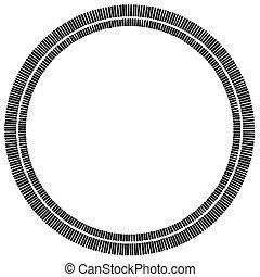 hecho, rectangles., elemento, geométrico, círculo concéntrico, design.