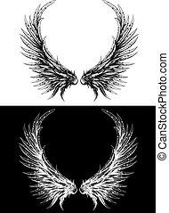 hecho, silueta, como, dibujo, tinta, alas