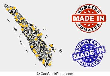 hecho, sumatra, producción, sello, mapa, grunge, mosaico, ...