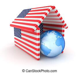 hecho, techo, norteamericano, debajo, tierra, flags.