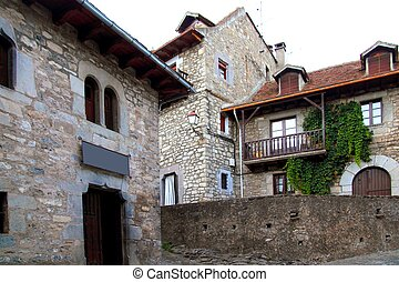 Hecho valley village stone streets in Pyrenees Spain Aragon