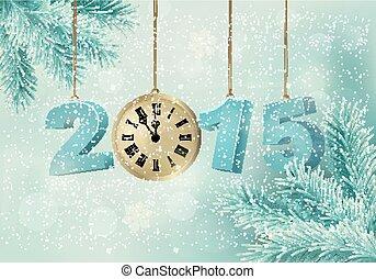 hecho, vector., clock., plano de fondo, 2015, feriado