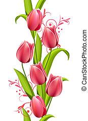 hecho, vertical, tulipanes, seamless, pauta fondo, blanco