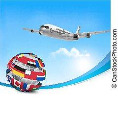 hecho, viaje,  vector, Plano de fondo, avión, banderas, globo