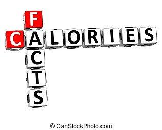 hechos, crucigrama, calorías, 3d