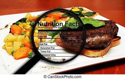 hechos, nutrición, filete