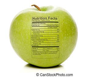 hechos, nutrición, manzana
