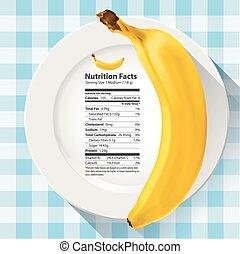 hechos, nutrición, plátano