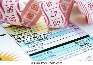 hechos nutrición, y, medida, cinta