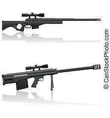 heckenschütze, vektor, abbildung, gewehr