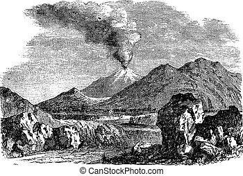 Hecla or Hekla a volcanic mountain of Iceland vintage engraving
