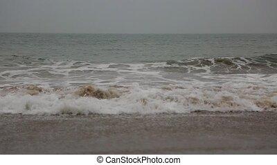 hectisch, ocean., de, golven, slaan, tegen, de, rocks.