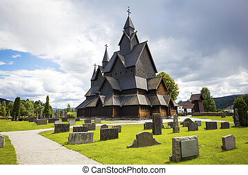 Heddal medieval wooden stave church in Telemark Norway - The...