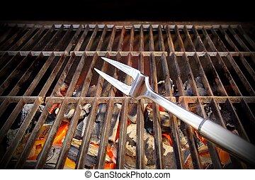 hede, bbq., grill, gaffel, og, glødende, kul