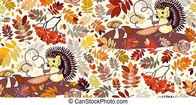 Hedgehog and snail with autumn leaves, berries and mushrooms