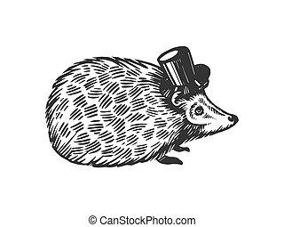 Hedgehog animal in cylinder top hat engraving vector...