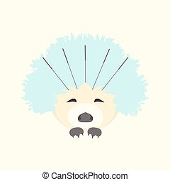 Cute hedgehog receiving acupuncture treatment on face. Traditional chinese medicine concept. Alternative medicine icon. Vector illustration for your design.