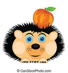 Hedgehog carries apple