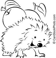 Hedgehog carries on his back an apple - black outline ...