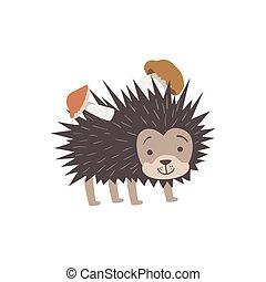 Hedgehog Carrying Two Mushrooms On The Back