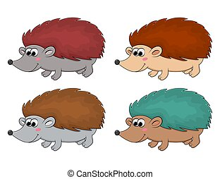 Hedgehog cartoon vector set. Collection of autumnal happy pet illustration isolated on white. Funny mammal mascot for kids. Young animal with sharp spikes for autumn design. October symbol or icon.