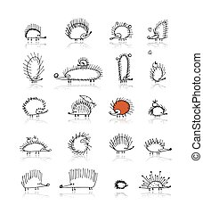 Hedgehog collection, sketch for your design