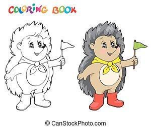 hedgehog., coloritura, pagina, libro, wiht, o