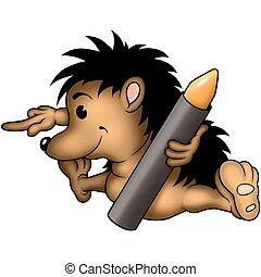 Hedgehog & crayon - Hedgehog 11 with wax-crayon - High ...