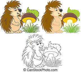 Hedgehog - Funny hedgehog with a big mushroom, color and...