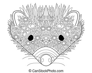 Hedgehog head coloring vector for adults