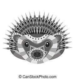 Hedgehog Head Logo. Vector decorative Emblem.