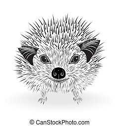 hedgehog head vector animal illustration for t-shirt. Sketch...
