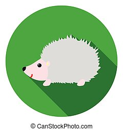 Hedgehog icon in flat style isolated on white background. Animals symbol stock vector illustration.