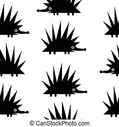 Hedgehog icon seamless pattern.