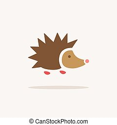 Hedgehog. Icon with shadow on a beige background. Animal vector illustration