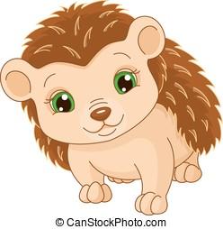 Hedgehog - Image cute hedgehog on a white background