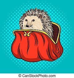 Hedgehog in a purse metaphor pop art style vector illustration. Comic book style imitation