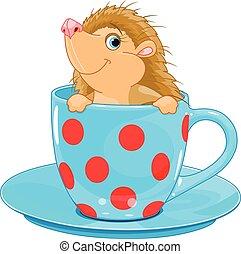 Hedgehog in the tea cup - Cute little Hedgehog sits in the...