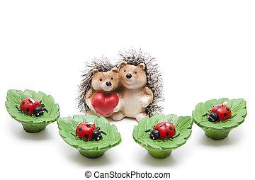 Hedgehog pair of with leaf candles