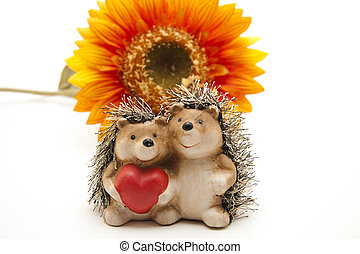 Hedgehog pair with heart