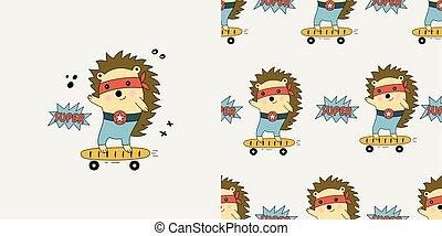 Hedgehog seamless pattern.