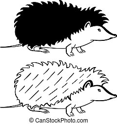 Hedgehog - Silhouette hedgehog on white background
