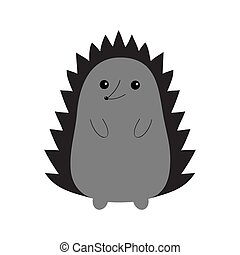 Hedgehog urchin. Contour silhouette. Cute cartoon kawaii animal. Funny face with eyes, spines, nose. Love Greeting card. Flat design. White background Isolated.