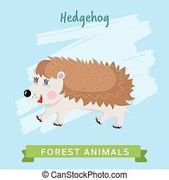 Hedgehog Vector, forest animals.