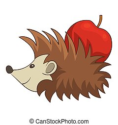 Hedgehog with apple icon, cartoon style