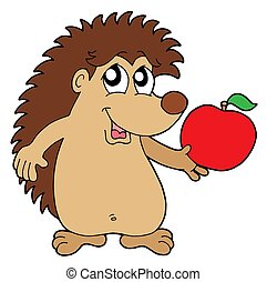 Hedgehog with apple - isolated illustration.
