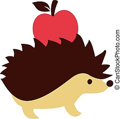 Hedgehog with apple on his back