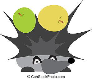 Hedgehog with apples