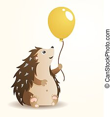 Hedgehog with balloon - Sitting Hedgehog with Yellow...