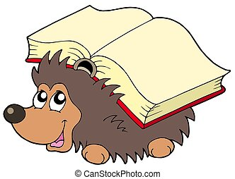 Hedgehog with book - isolated illustration.